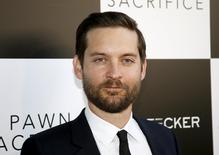 "Cast member Tobey Maguire poses at the premiere of the film ""Pawn Sacrifice,"" in Los Angeles, California September 8, 2015. REUTERS/Danny Moloshok - RTS7U6"