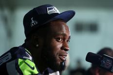 Jan 28, 2015; Phoenix, AZ, USA; Seattle Seahawks strong safety Kam Chancellor talks to reporters during the Seattle Seahawks press conference at Arizona Grand. Mandatory Credit: Peter Casey-USA TODAY Sports