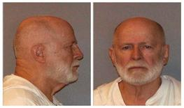 """Former mob boss and fugitive James """"Whitey"""" Bulger, who was arrested in Santa Monica, California on June 22, 2011 along with his longtime girlfriend Catherine Greig, is seen in a combination of booking mug photos released to Reuters on August 1, 2011.  REUTERS/U.S. Marshals Service/U.S. Department of Justice/Handout"""