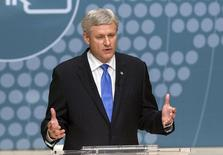 Conservative Leader Stephen Harper takes part in the Munk Debate on foreign affairs, in Toronto, on Monday, Sept. 28, 2015. REUTERS/Nathan Denette/POOL