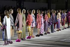 Models present creations by Belgian designer Dries Van Noten as part of his Spring/Summer 2016 women's ready-to-wear fashion show in Paris, France, September 30, 2015. REUTERS/Benoit Tessier