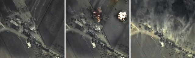 A combination of frame grabs taken from footage released by Russia's Defence Ministry September 30, 2015, shows precise airstrikes (L-R  before, during and after) carried out by the country's air force on Wednesday, against Islamic State (IS) ground positions in a mountainous area in Syria. REUTERS/Ministry of Defence of the Russian Federation