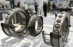 Ball bearings are pictured at the booth of German company Schaeffler during preparations at the Hanover industrial fair in Hanover April 7, 2013.  REUTERS/Fabian Bimmer