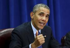 Presidente dos EUA, Barack Obama, faz pronunciamento no Departamento de Agricultura, em Washington. 06/10/2015 REUTERS/Kevin Lamarque