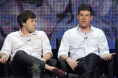 """Cast members Mark Duplass and Steve Rannazzisi (R) participate in the panel for """"The League"""" during the FX summer Television Critics Association press tour in Beverly Hills, California August 3, 2010. REUTERS/Phil McCarten"""