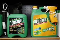 L'herbicide Roundup, un des produits vedettes de Monsanto. Le groupe américain, l'un des leaders mondiaux des semences et de l'agrochimie, va supprimer 2.600 emplois dans le cadre d'une restructuration visant à compenser la baisse des marchés des matières premières. /Photo prise le 16 juin 2015/REUTERS/Charles Platiau