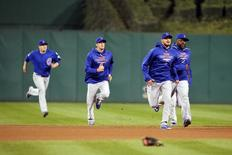Oct 7, 2015; Pittsburgh, PA, USA; The Chicago Cubs bullpen runs in as the benches clear after Chicago Cubs starting pitcher Jake Arrieta (49) was hit by a Pittsburgh Pirates pitch during the seventh inning in the National League Wild Card playoff baseball game at PNC Park. Charles LeClaire-USA TODAY Sports