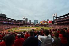 Oct 9, 2015; St. Louis, MO, USA; A general view of Busch Stadium before game one of the NLDS between the Chicago Cubs and the St. Louis Cardinals at Busch Stadium. Mandatory Credit: Jasen Vinlove-USA TODAY Sports