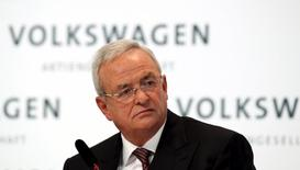 Martin Winterkorn speaks at the annual news conference of Volkswagen in Berlin, in this file picture taken March 12, 2015.   REUTERS/Fabrizio Bensch/Files