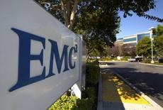 The EMC logo is seen at the entrance to the company's office in Santa Clara, California, in an undated photo provided by EMC.  REUTERS/EMC/Handout via Reuters