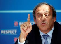 UEFA President Michel Platini attends a news conference after the draw for the 2015/2016 UEFA Europa League soccer competition at Monaco's Grimaldi Forum in Monte Carlo, Monaco August 28, 2015.   REUTERS/Eric Gaillard