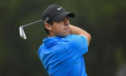 Sep 26, 2015; Atlanta, GA, USA; Rory McIlroy tees off the second hole during the third round of the Tour Championship by Coca-Cola at East Lake Golf Club. Mandatory Credit: John David Mercer-USA TODAY Sports