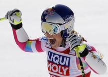 Lindsey Vonn of the U.S. reacts in the arrival area in the women's Super G race at the Alpine Skiing World Cup Finals in Meribel, in the French Alps, March 19, 2015.       REUTERS/Robert Pratta - RTR4U00T