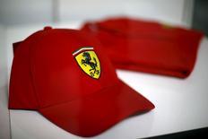 A Ferrari logo is pictured on a hat in Santiago city, Chile, October 20, 2015. REUTERS/Ivan Alvarado