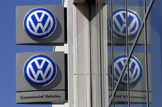 Volkswagen logos adorning a sign outside a dealership for the German automaker located in the Sydney suburb of Artarmon, Australia, October 3, 2015. REUTERS/David Gray/Files