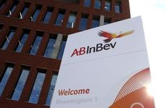 The logo of Anheuser-Busch InBev is pictured outside the brewer's headquarters in Leuven, Belgium, October 27, 2015. REUTERS/Francois Lenoir