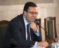 Мариан Лупу на пресс-конференции в Кишиневе. 25 апреля 2013 года. Парламент Молдавии отправил в отставку правительство Валериу Стрельца, после того как часть правящей коалиции поддержала выдвинутый оппозицией вотум недоверия на фоне массовых протестов из-за аферы, стоившей банковской системе страны $1 миллиард. REUTERS/Viktor Dimitrov