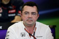 McLaren Racing Director Eric Boullier during a press conference Mandatory Credit: Action Images / Hoch Zwei Livepic
