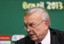 Então presidente da Confederação Brasileira de Futebol (CBF), José Maria Marin, durante entrevista coletiva no Rio de Janeiro. 28/06/2013 REUTERS/Sergio Moraes