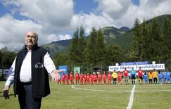 """FIFA President Sepp Blatter arrives for the first game of the so-called """"Sepp Blatter tournament"""" in Blatter's home-town Ulrichen, Switzerland, August 22, 2015. REUTERS/Denis Balibouse"""
