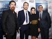 "Cast members (L-R) Christian Bale, Ryan Gosling, Marisa Tomei and Steve Carell pose at the premiere of ""The Big Short"" during the closing night of AFI Fest 2015 in Hollywood, California November 12, 2015. REUTERS/Mario Anzuoni"