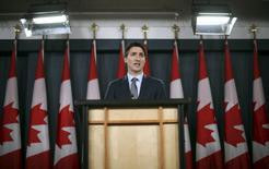 Canada's Prime Minister Justin Trudeau speaks during a news conference in Ottawa, Canada November 12, 2015. REUTERS/Chris Wattie