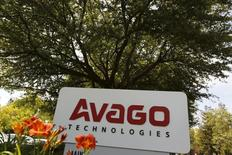 A sign is seen at the entrance to the headquarters of Avago Technologies in San Jose, California May 29, 2015. REUTERS/Robert Galbraith