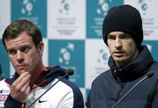 Britain's Andy Murray and captain Leon Smith (L) hold a joint news conference ahead of the Davis Cup final between Belgium and Britain at Flanders Expo hall in Ghent, Belgium, November 24, 2015.   REUTERS/Francois Lenoir
