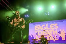 File photo of Jesse Hughes of the rock band Eagles of Death Metal performing with drummer Joey Castillo (R) at Festival Supreme at Shrine Auditorium in Los Angeles, California in this picture taken October 25, 2014. REUTERS/Alex Matthews
