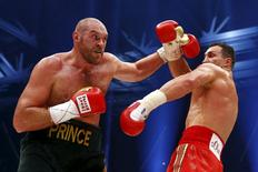 Tyson Fury is seen in action against Wladimir Klitschko during their WBA, IBF & WBO Heavyweight Title fight at the Esprit Arena, Dusseldorf, Germany in this November 28, 2015 file photo.    REUTERS/Kai Pfaffenbach