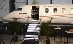 The exterior of a mock-up of Bombardier Inc's Global 7000 business jet is shown at the company's assembly line in Toronto, Ontario, November 3, 2015.    REUTERS/EUAN ROCHA