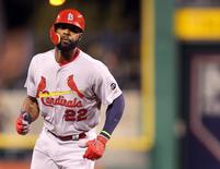 Sep 30, 2015; Pittsburgh, PA, USA; St. Louis Cardinals right fielder Jason Heyward (22) rounds the bases after hitting a grand slam home run against the Pittsburgh Pirates during the third inning at PNC Park. Mandatory Credit: Charles LeClaire-USA TODAY Sports