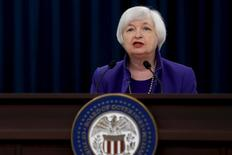 U.S. Federal Reserve Chairman Janet Yellen holds a news conference to announce raised interest rates in Washington December 16, 2015.  REUTERS/Jonathan Ernst -