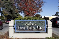 """A """"Welcome to East Palo Alto"""" sign is seen on University Ave in East Palo Alto, California December 16, 2015. REUTERS/Stephen Lam"""