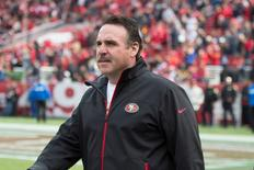 January 3, 2016; Santa Clara, CA, USA; San Francisco 49ers head coach Jim Tomsula walks the sideline against the St. Louis Rams at Levi's Stadium. Mandatory Credit: Kyle Terada-USA TODAY Sports