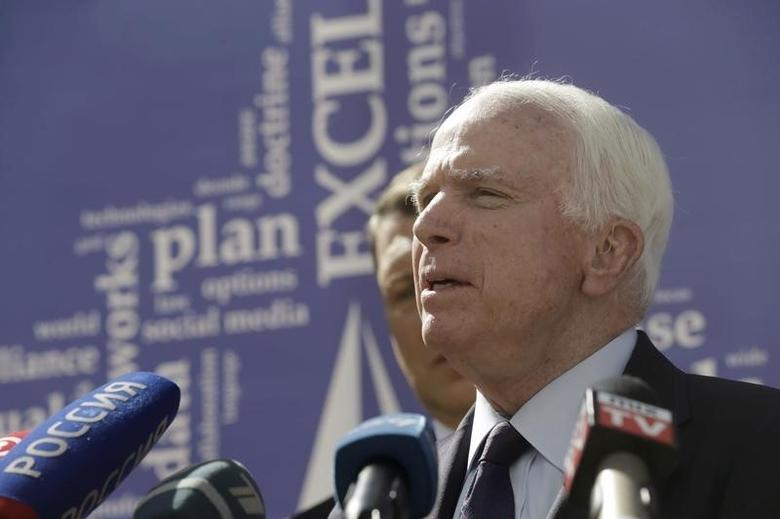 U.S. Senator John McCain speaks during the inauguration ceremony of the NATO Strategic Communications Centre of Excellence (StratCom COE) in Riga, Latvia, August 20, 2015. REUTERS/Ints Kalnins