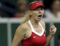 Russia's Maria Sharapova reacts during her final match of the Fed Cup tennis tournament against Czech Republic's Petra Kvitova in Prague, Czech Republic, November 15, 2015.   REUTERS/David W Cerny