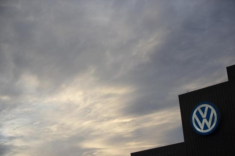 A Volkswagen logo adorns the company's power plant in Wolfsburg, Germany September 22, 2015. REUTERS/Axel Schmidt