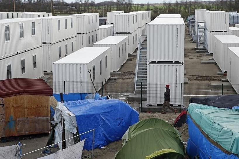 migrant shelter made of shipping containers opens in france 39 s calais reuters. Black Bedroom Furniture Sets. Home Design Ideas