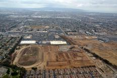 An aerial view of the former site of the Hollywood Park Race Track in Inglewood, California- the site of a proposed 80,000 seat NFL Stadium. Kirby Lee-USA TODAY Sports