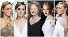 Indicadas ao Oscar de melhor atriz em 2016, da esquerda para a direita: Brie Larson, Saoirse Ronan, Charlotte Rampling, Jennifer Lawrence, Cate Blanchett.  REUTERS