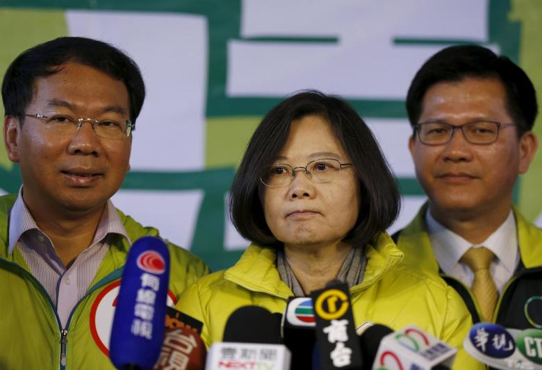 Taiwan's Democratic Progressive Party (DPP) Chairperson and presidential candidate Tsai Ing-wen answers questions at a press conference at the start of a campaign rally ahead of the election in Taichung, Taiwan, January 15, 2016. REUTERS/Olivia Harris