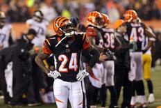 Jan 9, 2016; Cincinnati, OH, USA; Cincinnati Bengals cornerback Adam Jones (24) reacts during the fourth quarter against the Pittsburgh Steelers in the AFC Wild Card playoff football game at Paul Brown Stadium. Mandatory Credit: Aaron Doster-USA TODAY Sports