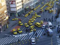Taxis block a main road in Budapest's city centre, Hungary, January 18, 2016. REUTERS/Laszlo Balogh