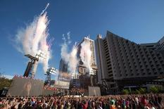 Sep 10, 2015; San Francisco, CA, USA; Ellie Goulding performs during a NFL Super Bowl 50 kickoff concert at Justin Herman Plaza. Mandatory Credit: Kelley L Cox-USA TODAY Sports