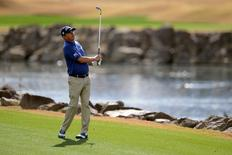 Jan 22, 2016; La Quinta, CA, USA; Jason Dufner watches his fairway shot on the 10th hole during the second round of the CareerBuilder Challenge on theTPC Stadium course at PGA West. Mandatory Credit: Joe Camporeale-USA TODAY Sports