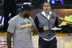 Jun 3, 2015; Oakland, CA, USA; Cleveland Cavaliers head coach David Blatt talks with forward LeBron James (23) during practice prior to the NBA Finals at Oracle Arena. Mandatory Credit: Kyle Terada-USA TODAY Sports