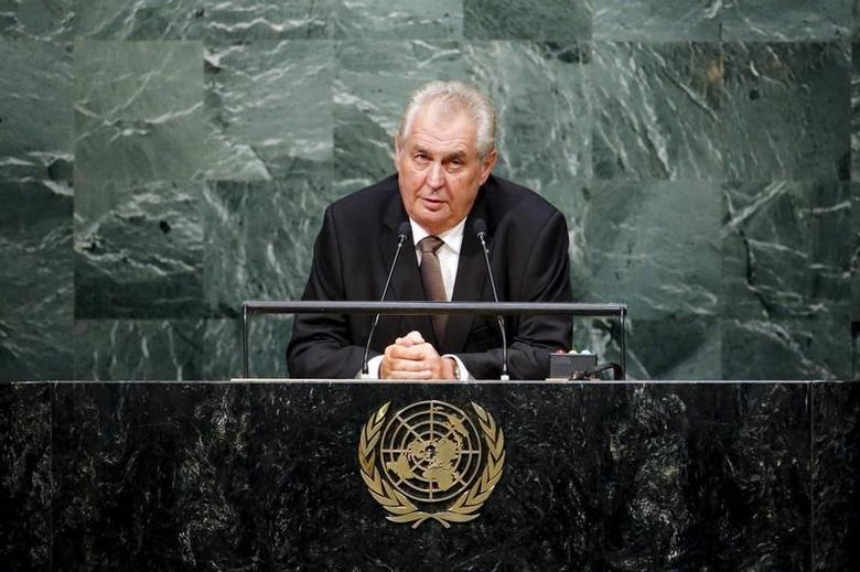 Czech President Milos Zeman speaks during the 70th session of the United Nations General Assembly at the U.N. Headquarters in New York, in this September 29, 2015 file photo.   REUTERS/Eduardo Munoz