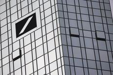 The Deutsche Bank logo is seen at its headquarters in Frankfurt, Germany, in this October 29, 2015 file photo.   REUTERS/Kai Pfaffenbach/Files