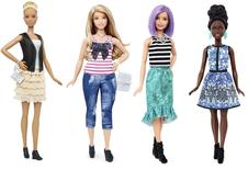 New Barbie doll body shapes of tall (L), curvy (2nd L) and petite (R) are seen next to the traditional Barbie (2nd R) in this image released by Mattel on January 28, 2016.   REUTERS/Mattel/Handout via Reuters